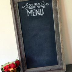 Chalkboard Menu Sign by Lily & Val - Share what's for dinner (or lunch) with this rustic chalkboard menu. The worn wood and the scroll details are great contrasting elements.