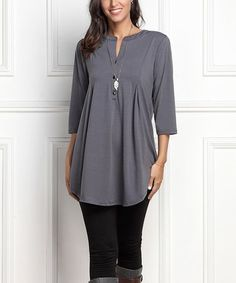 Another great find on #zulily! Charcoal Notch Neck Button-Front Tunic - Plus #zulilyfinds
