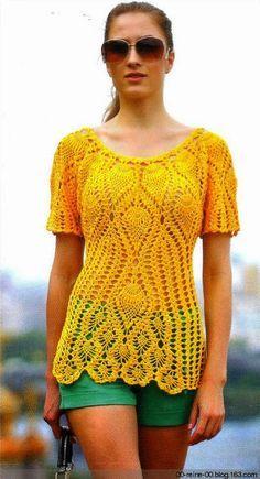 CARAMELO DE CROCHET: blusita amarilla de piñas