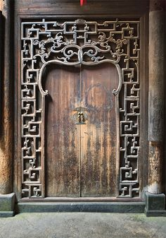 Antique Handcrafted wood door, The village of Xidi, Anhui, China
