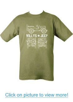 Kombat Mens Military Printed Army Combat WW2 Willys Willy's D-Day Jeep US T-shirt Green Tshirt (XL = Chest 110-112cm or 46-48 inch)