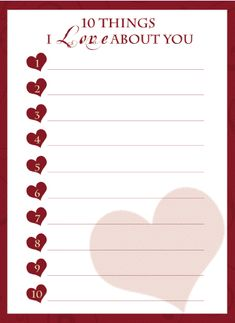 "free printable ""10 Things I Love About You"""