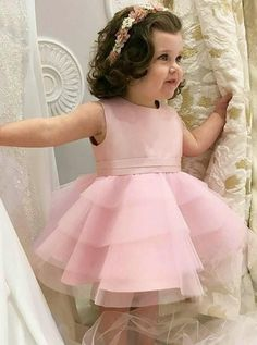On Sale Excellent Pink Wedding Dresses, Party Dresses A-Line Wedding Dresses, A-Line Wedding Dress, Pink Party Dresses Wedding Dresses Substantial Pink Wedding Dresses A-Line Round Neck Knee Length Tiered Pink Tulle Flower Girl Dress Pink Flower Girl Dresses, Tulle Flower Girl, Pink Wedding Dresses, Little Girl Dresses, Flower Girls, Girls Dresses, Pink Tulle, Dress Wedding, Dresses Dresses