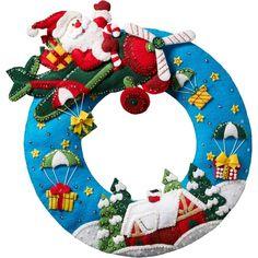 Bucilla Airplane Santa Gifts Flying Plane Christmas Wreath Felt Craft Kit 86838