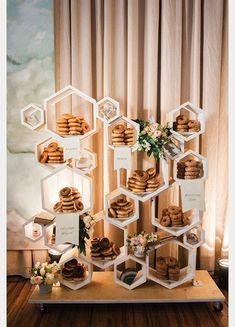 Modern Wedding Donut Decor ~ love this hexagonal donut display