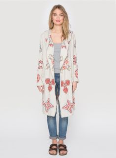 The BIYA KREENA LONG HOODIE features a mandala art-inspired embroidery design in rich red and burgundy hues. This long cardigan coat features two pockets, long sleeves, and a hood, ensuring an extra-cozy fit. Throw the KREENA LONG HOODIE on over yoga pant Boho Gypsy, Gypsy Soul, Bohemian, Johnny Was Clothing, Long Cardigan Coat, Long Hoodie, Haberdashery, Light Beige, Embroidery Designs