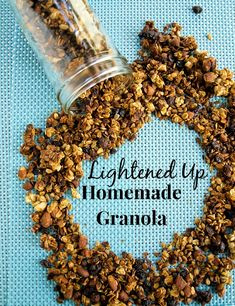lightened up homemade granola recipe. Tons of crunch and flavor, but with less fat and calories than regular granola. Great with yogurt or milk for breakfast or snack! Breakfast Dishes, Healthy Breakfast Recipes, Healthy Snacks, Snack Recipes, Cooking Recipes, Healthy Eating, Healthy Recipes, Simple Snacks, Breakfast Items