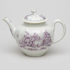 Teapot and cover with flower knob copper plate print in lilac of a gentleman wooing his lady. Square mark. Circa 1768-70. Excellent condition. Height 13cm. Width 11.5cm plus spout and handle. Currently available to purchase from the Museum of Royal Worcester's online shop. #RoyalWorcester #BoneChina #Porcelain