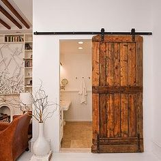 The Brooklyn Home Company - bathrooms - white, painted, wood, floor, reclaimed, wood, sliding, barn, door, bathroom barn door, bathroom with barn door, recliamed wood barn door, interior barn door,