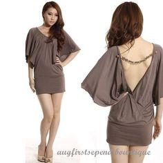 Women Graceful Stylish Sexy Stretch #Backless #Batwing Clubwear Party Mini #Dress