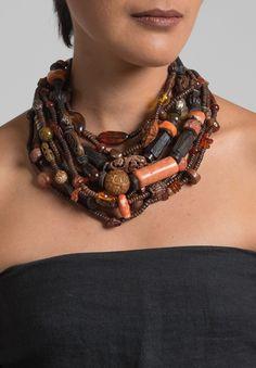 Monies UNIQUE Amber, Rosewood & Carnelian Necklace