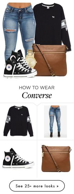 """Would you keep it Real if my heart Belonged to you?"" by bria-myell on Polyvore featuring Victoria's Secret, MICHAEL Michael Kors, Kate Spade and Converse"