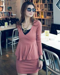 Charming Fake Two-pieces V Neck Dress Pink Korean Fashion Dress, Korean Dress, Fashion Dresses, Maternity Wear, Maternity Dresses, Pink Dress, Peplum Dress, Everything Baby, V Neck Dress