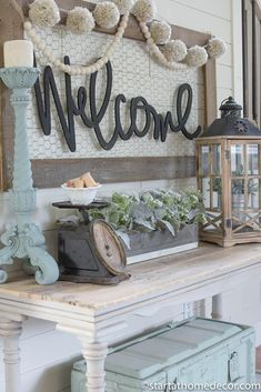 Welcome Typography Word Cutout MDF word sign Typography Start at Home Decor Rustic Farmhouse Decor, Country Decor, Rustic Decor, Fresh Farmhouse, Farmhouse Tabletop, Coastal Farmhouse, Farmhouse Style, Farmhouse Ideas, Vintage Farmhouse