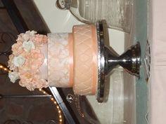 Peach Fondant, diamond impression and Floral Wedding Cake