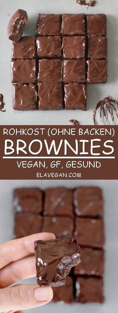 Gluten free - Dairy free - Refined sugar free - Vegan - No bake brownies. These healthy no bake brownies contain just 6 ingredients. The recipe is vegan, gluten free, refined sugar-free, fudgy, chocolatey and these raw vegan brownies are easy to make. Desserts Végétaliens, Healthy Dessert Recipes, Healthy Sweets, Healthy Baking, Raw Food Recipes, Eat Healthy, Vegan Baking, Free Recipes, Sugar Free Vegan Desserts