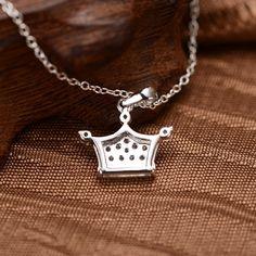 925 Sterling Silver Cubic Zirconia Inlaid Crown Pendant #keynecklace #necklace #Evolees