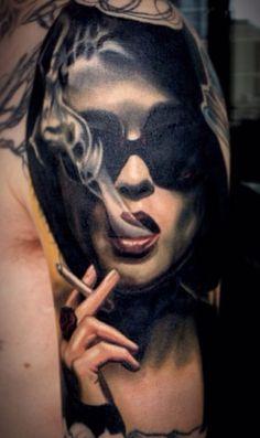 Marla - Helena Bonham-Carter by Nikko Hurtado #tattoo #portrait