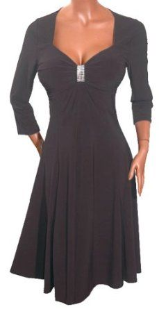 FUNFASH BLACK ¾ SLEEVES EMPIRE WAIST COCKTAIL DRESS NEW Plus Size Made in USA,$44.99