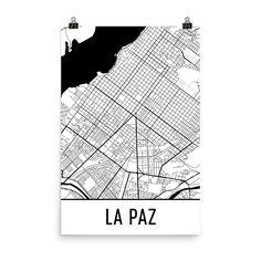 La Paz Bolivia Map, Art, Print, Poster, Wall Art From $29.99 - ModernMapArt