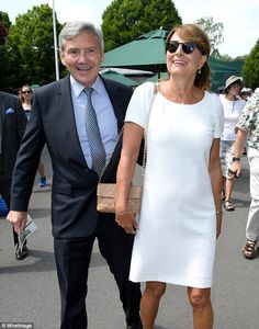 Carole Middleton gave a sartorial nod to the Wimbledon players' dress code today in a crisp white summer dress Kate Middleton Parents, Carole Middleton, Middleton Family, Pippa And James, Looking Dapper, White Dress Summer, Prince William And Kate, Duchess Of Cambridge, Wimbledon 2017