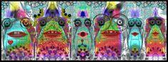 """""""#Pandilla de bichobuseros"""" Llamados así porque fueron creados a partir de la #fotografia de dos asientos de autobus mediante #fotomanipulacion digital con #Gimp. Ver más en: www.librecreacion.net www.sirenasinmar.blogspot.com www.facebook.com/SugarherArts Blog Fotografia, Painting, Facebook, Art, Photos, Art Background, Painting Art, Kunst, Paintings"""