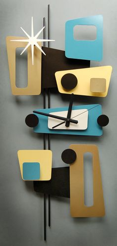 Unique wall clocks for your living and dining room 44 Mid Century Decor, Mid Century Modern Design, Mid Century Furniture, Cool Clocks, Unique Wall Clocks, Modern Clock, Mid-century Modern, Yellow Clocks, Retro Clock