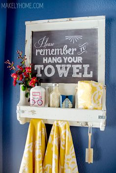 DIY Chalkboard Art Towel Rack and Bathroom Accessories Holder. Check this link for another version of this project: http://www.shanty-2-chic.com/2013/04/diy-chalkboard-and-key-hooks.html
