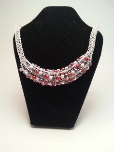 Sterling Silver Viking Knit Necklace with Multi-Colored Glass Beads, by allisbdesigning on Etsy, $20.00