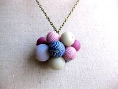 Polymer clay necklace in pink and grey