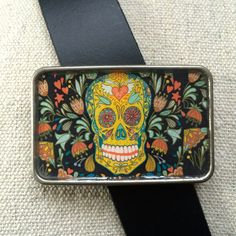Sugar Skull - Day of the Dead Belt Buckle, Black by What The Buckle on Etsy.com