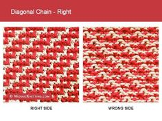 Mosaic Knitting - Two color Slip Stitch Pattern. Right side vs wrong side of the Diagonal Chain - Right stitch