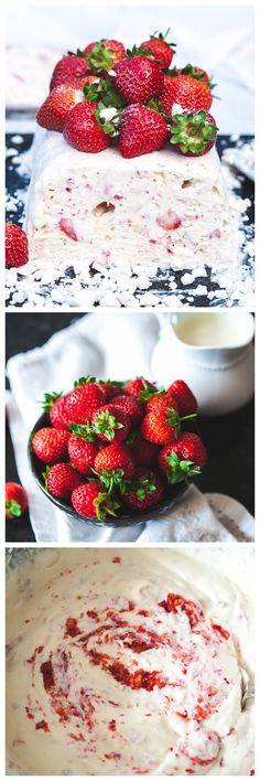 Mounds of whipped cream with fresh strawberries and broken meringue-a British classic turned into a gorgeous frozen dessert!
