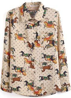 Khaki Long Sleeve Lapel Horse Print Polka Dot Blouse - Sheinside.com