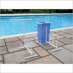 Pool Side Organizer With Hampers for Swimming Pool Floats and Water Toys 723815089038 Pool Toy Organization, Pool Toy Storage, Pool Float Storage, Backyard Storage, Organization Ideas, Pvc Pool, Pool Fun, Towel Rack Pool, Towel Hanger