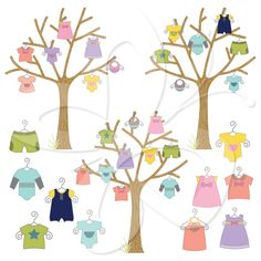 A variation on the clothes line, this baby shower clipart for boys and girls…