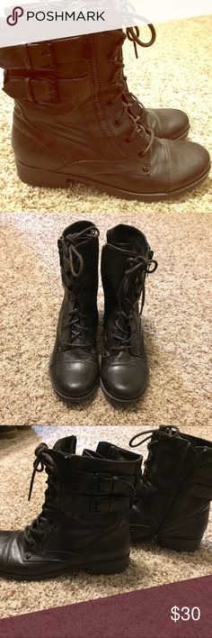 Only wore once G by Guess short combat boots in dark, dark brown. No flaws or scuffs. Zip up on inside ankle part but has lace up front. Only worn once. Super cute I just don't wear them enough to keep! Guess Shoes Combat & Moto Boots