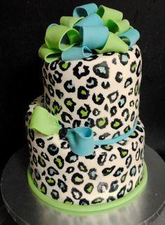 Handpainted cheetah cake.