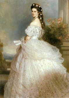 "Portrait of Empress Elisabeth of Austria, or Princess Sissi as she is better known thanks to Romy Schneider's movies. ""Elisabeth with diamond stars in her hair"" (oil on canvas) 1865 Franz Xaver Winterhalter Franz Xaver Winterhalter, Victorian Era, Victorian Fashion, Vintage Fashion, Empress Sissi, Kunsthistorisches Museum Wien, Kaiser Franz, Gala Dresses, Fashion History"