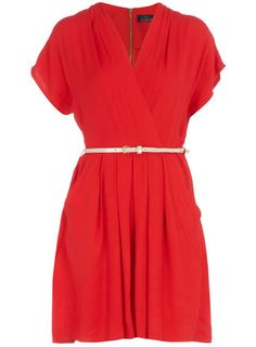 Red crossover belted dress