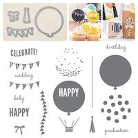 Celebrate Today Photopolymer Bundle by Stampin' Up! Handmade Birthday Cards, Birthday Diy, Greeting Cards Handmade, Happy Birthday, Graduation Balloons, Birthday Balloons, Daydream Medallions, Todays Birthday, Handmade Scrapbook