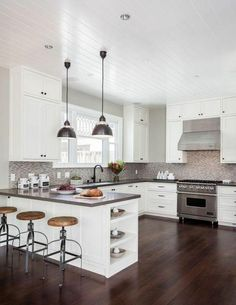 61 Top Sleek Contemporary Kitchen Designs Inspiration - Page 52 of 63 Living Room Kitchen, Home Decor Kitchen, Interior Design Kitchen, Home Kitchens, Kitchen Ideas, Eclectic Kitchen, Small Kitchens, Kitchen Photos, Eclectic Decor