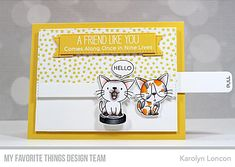 Find Out If You're a $50 Winner Then Get Smitten with Sliding Kittens – MFT Stamps Sun Paper, Black Licorice, Brown Cat, Interactive Cards, Mft Stamps, Cat Cards, Cardmaking, Card Stock, Congratulations