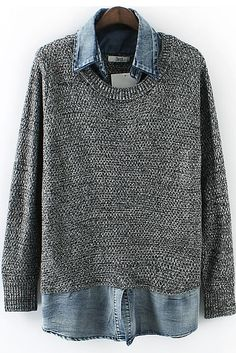 love Love LOVE! Denim + Grey Contrast Denim Long Sleeve Knit Sweater #Denim #Grey #Layered #Winter #Sweater #Fashion
