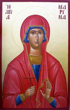 St. Marina Catholic Saints, Patron Saints, Ste Marguerite, Religion Quotes, Byzantine Icons, Orthodox Christianity, Prayer Cards, I Icon, Orthodox Icons