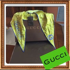 Authentic Gucci silk scarf Lime green and blue, Small 100% silk and authentic new Gucci scarf! With Gucci logo design, with the tag. Gucci Accessories Scarves & Wraps