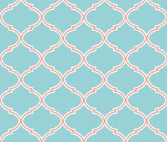 Lily Trellis in Turquoise and Coral  fabric by willowlanetextiles on Spoonflower - custom fabric