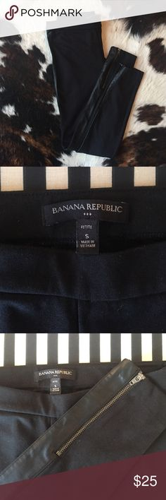 Banana Republic leggings w/faux leather trim ✨HOT LOOK✨ excellent condition. No fading or pills. Black leggings with faux leather trim and zippers at the ankles. Banana Republic Pants Leggings