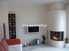Τζάκι γωνιακό στρογγυλό. Flat Screen, Interior Design, Furniture, Tv, Home Decor, Google, Ideas, Interior Designing, Blood Plasma