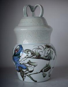 """merry go round""  磁土,轆轤,w18cm h33cm/Porcelain, wheel, w7inches h13inches"